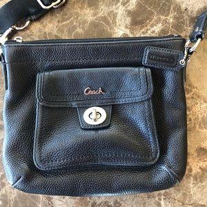 Cross body black leather purse